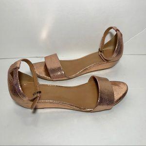 J Crew rose gold demi peep toe wedge dressy sandal